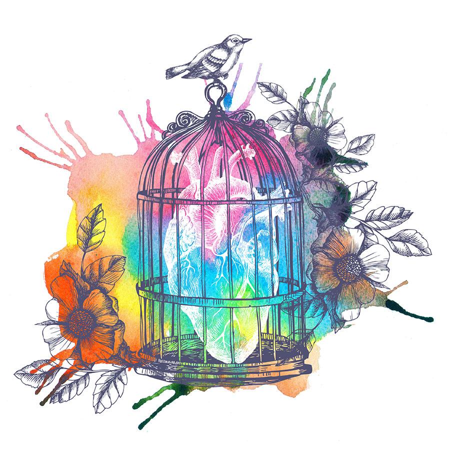 Joelle Le Goff thérapeute psycho-corporelle, illustration aquarelle multicolore avec coeur humain en cage.