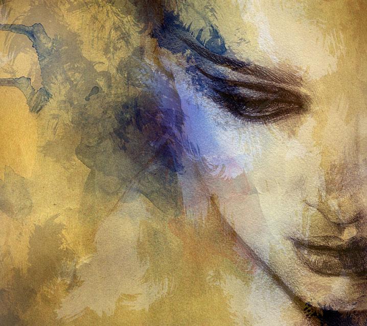 Les séances biodynamiques de Joëlle Le Goff thérapeute psycho-corporelle avec un portrait de femme.